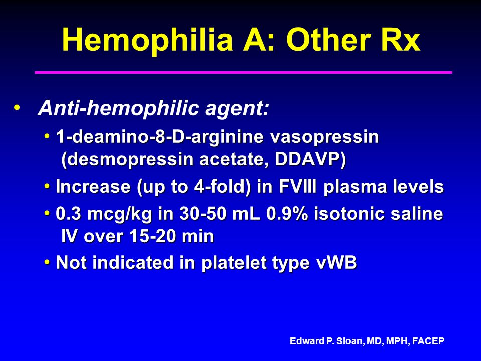 Hemophilia A: Other Rx Anti-hemophilic agent: