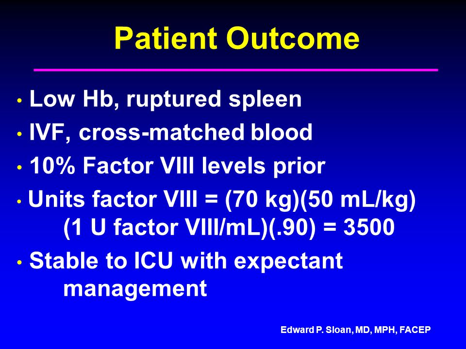 Patient Outcome Low Hb, ruptured spleen IVF, cross-matched blood