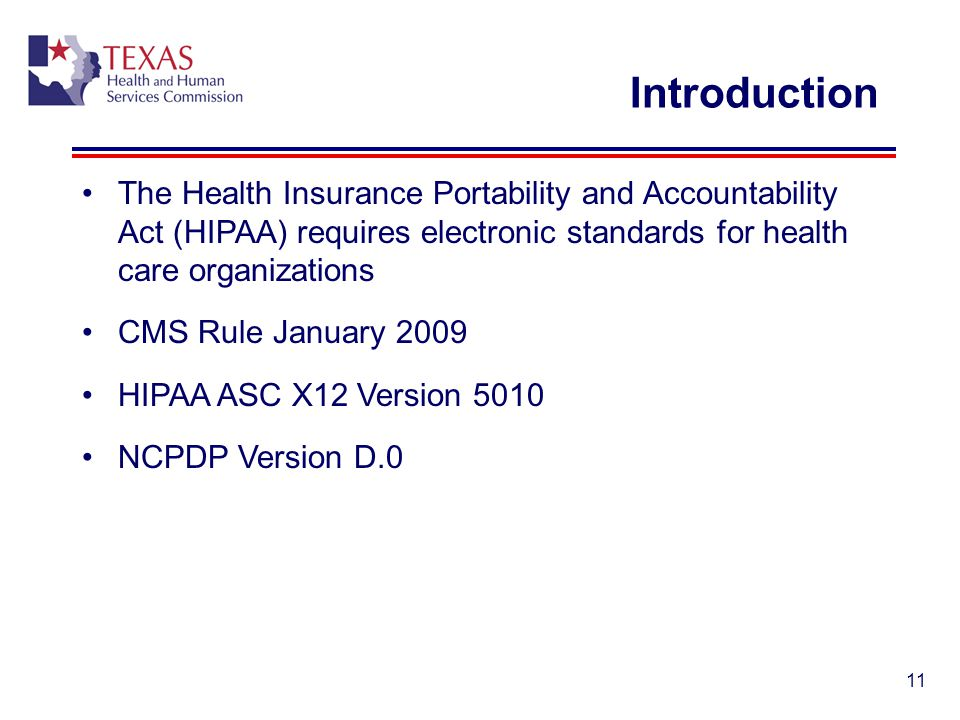 Introduction The Health Insurance Portability and Accountability Act (HIPAA) requires electronic standards for health care organizations.