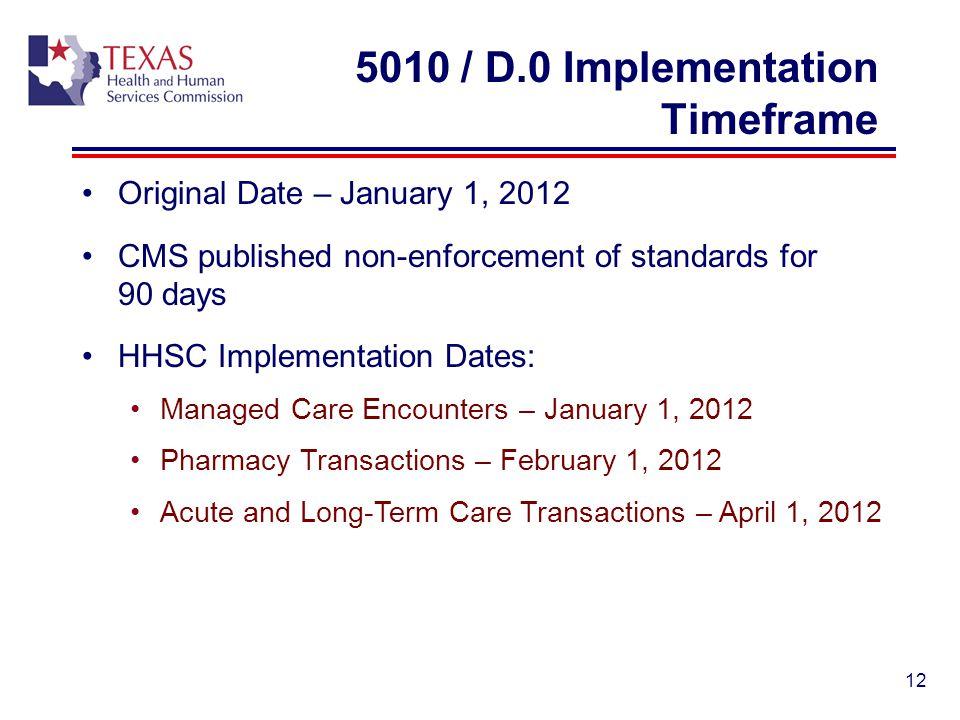 5010 / D.0 Implementation Timeframe