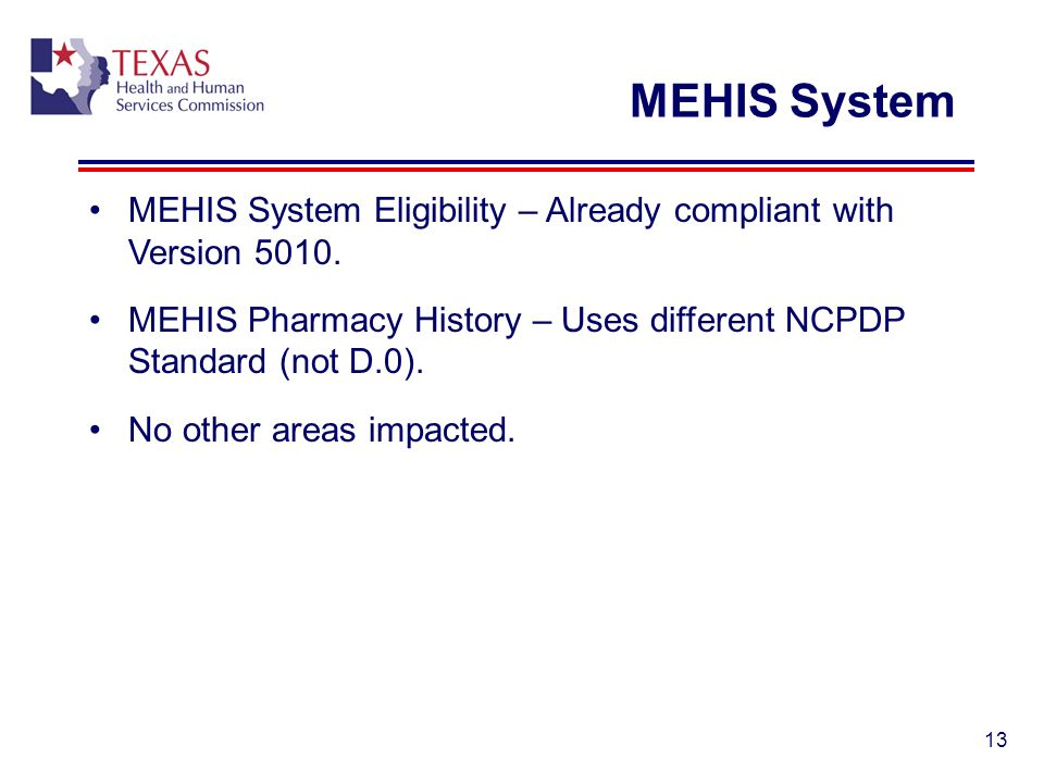 MEHIS System MEHIS System Eligibility – Already compliant with Version 5010. MEHIS Pharmacy History – Uses different NCPDP Standard (not D.0).