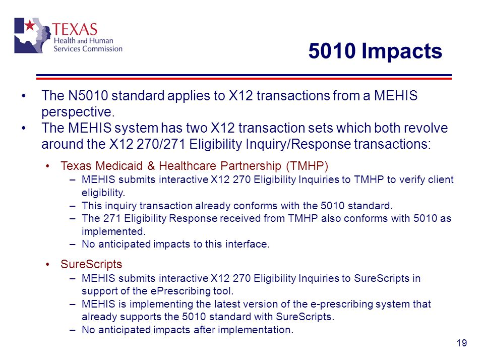 5010 Impacts The N5010 standard applies to X12 transactions from a MEHIS perspective.