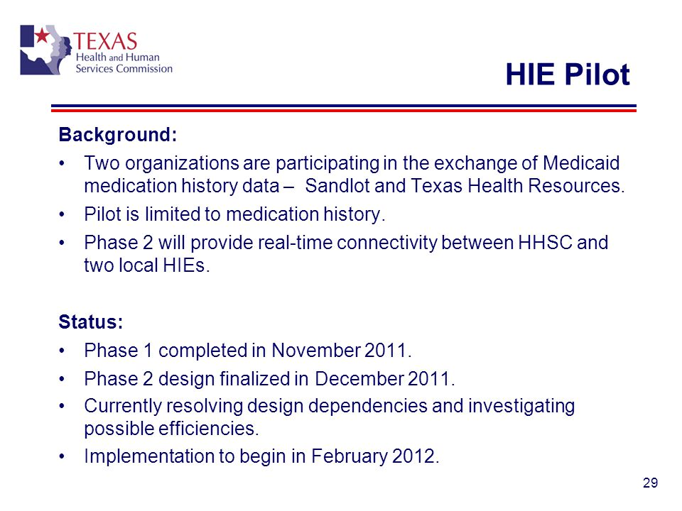 HIE Pilot Background: Two organizations are participating in the exchange of Medicaid medication history data – Sandlot and Texas Health Resources.