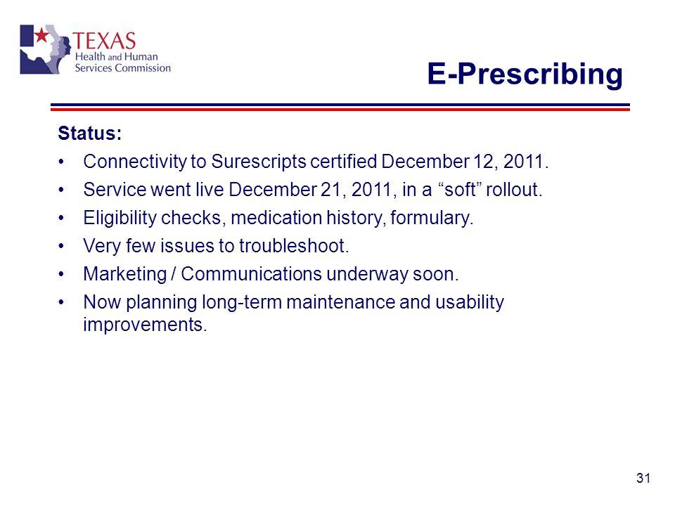 E-Prescribing Status: