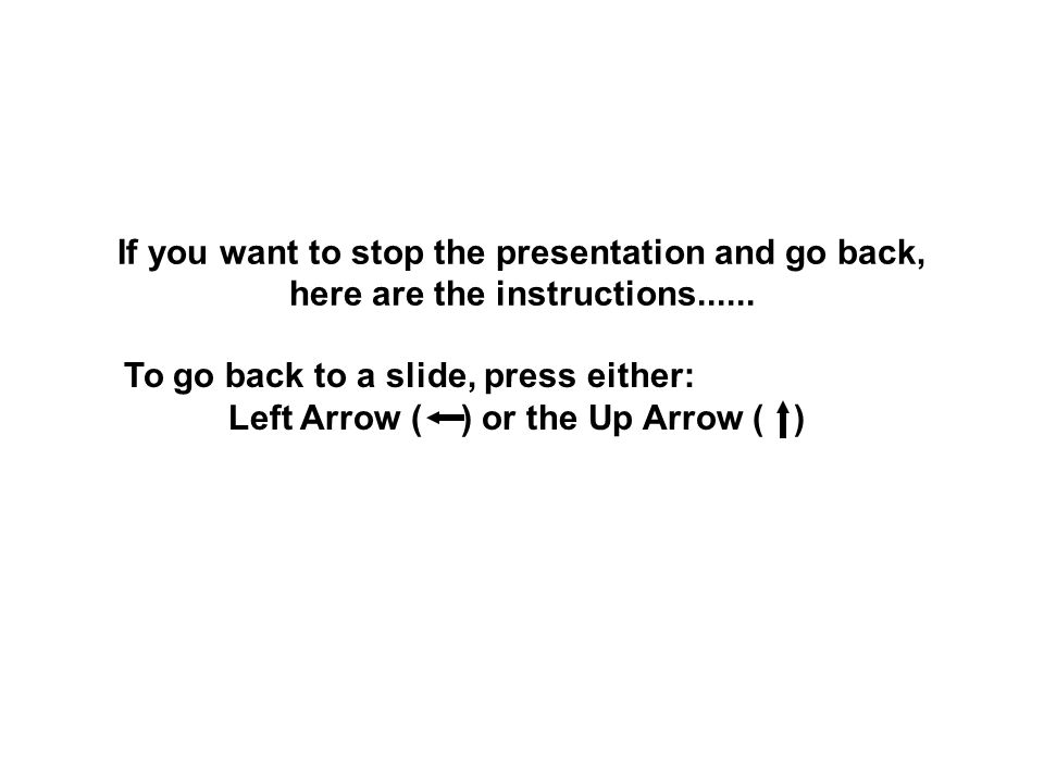 If you want to stop the presentation and go back, here are the instructions......