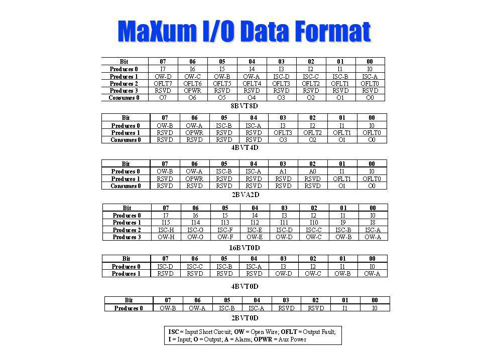 MaXum I/O Data Format