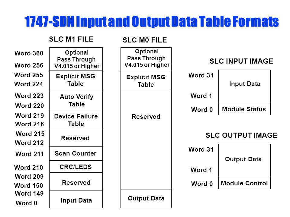 1747-SDN Input and Output Data Table Formats