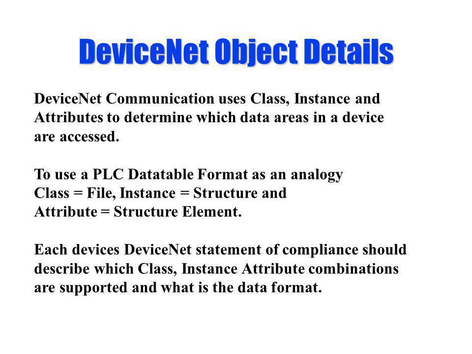 DeviceNet Object Details