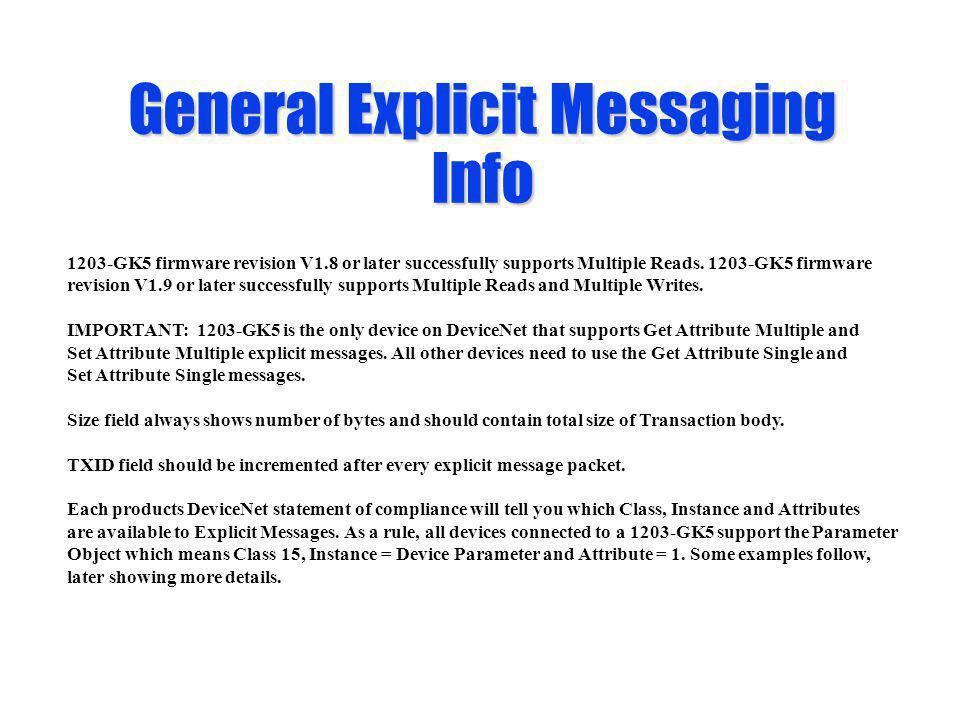 General Explicit Messaging Info