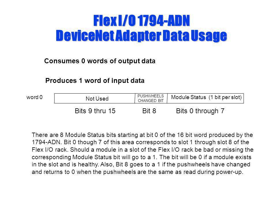 Flex I/O 1794-ADN DeviceNet Adapter Data Usage