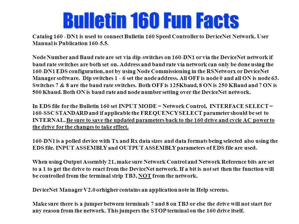 Bulletin 160 Fun Facts Catalog 160 - DN1 is used to connect Bulletin 160 Speed Controller to DeviceNet Network. User Manual is Publication 160-5.5.