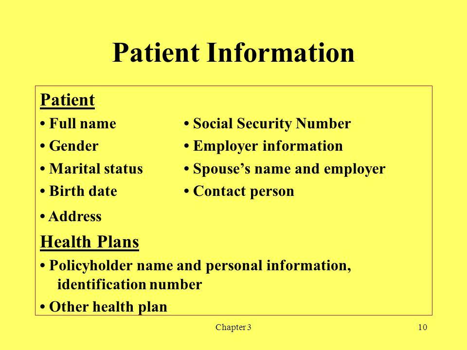 Patient Information Patient Health Plans