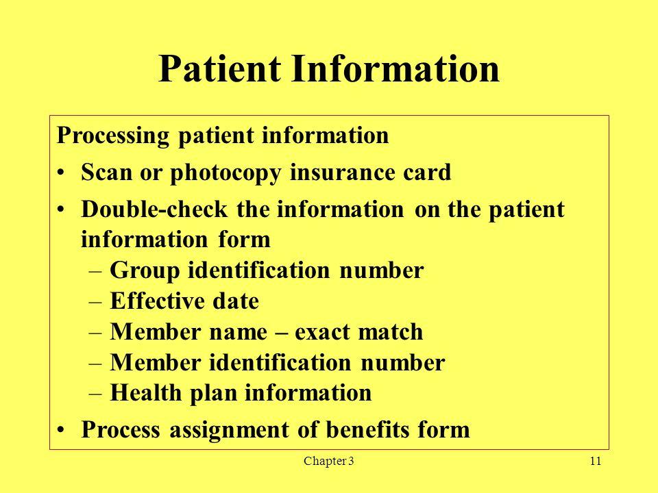 Patient Information Processing patient information