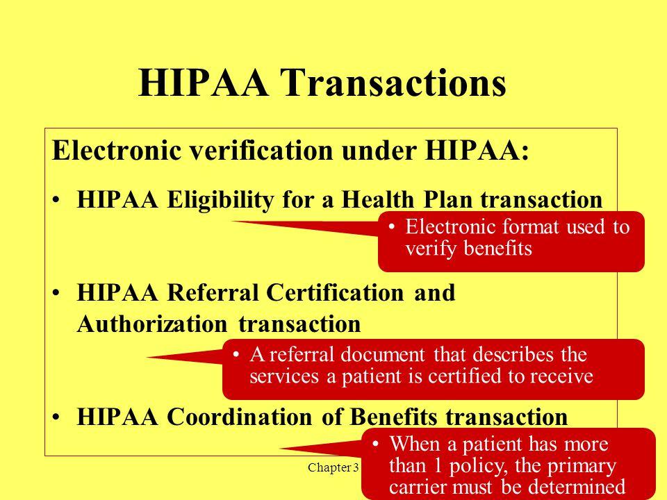 HIPAA Transactions Electronic verification under HIPAA:
