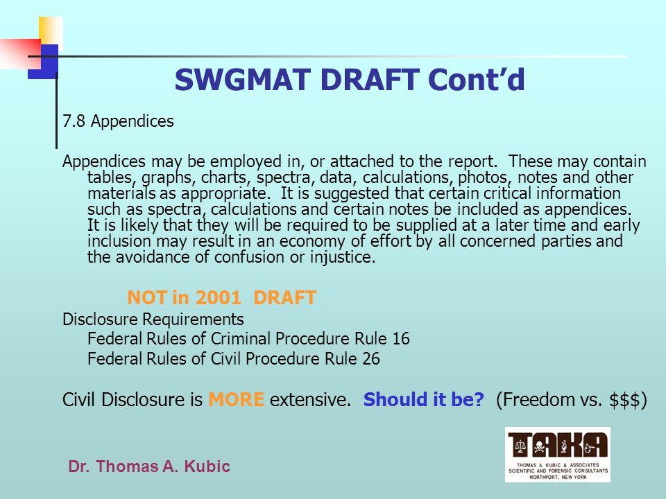 SWGMAT DRAFT Cont'd 7.8 Appendices.
