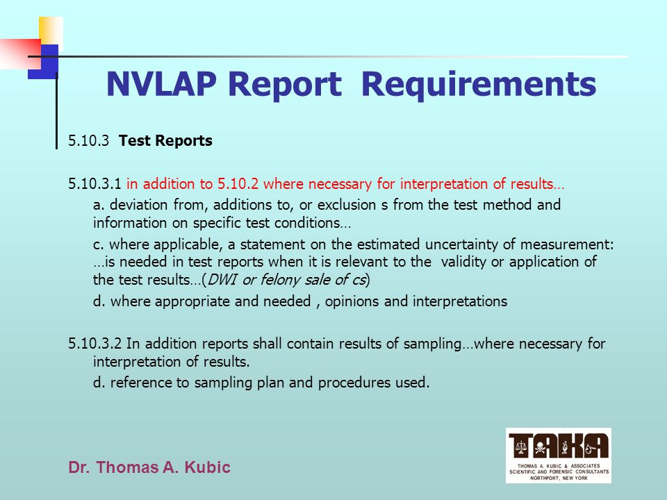 NVLAP Report Requirements