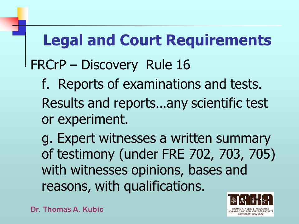 Legal and Court Requirements
