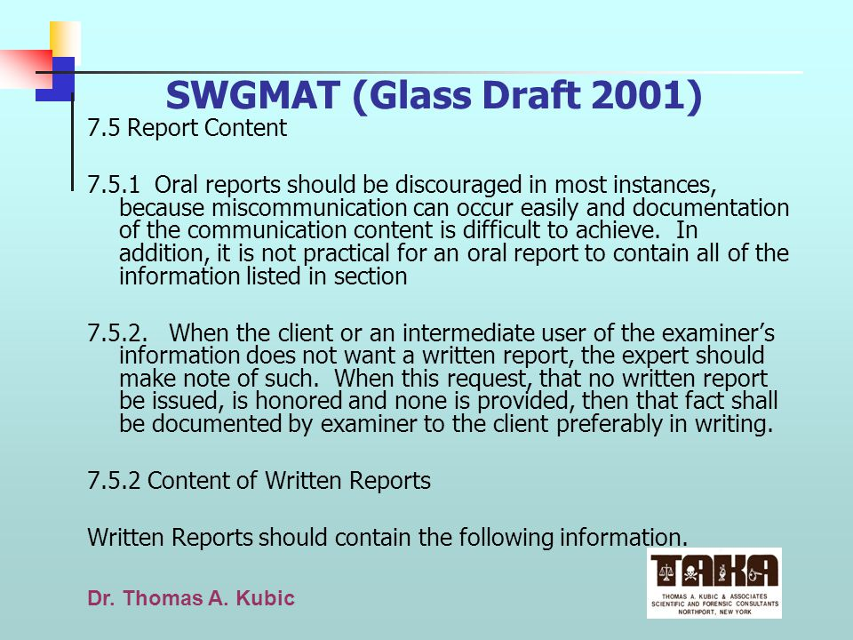 SWGMAT (Glass Draft 2001) 7.5 Report Content