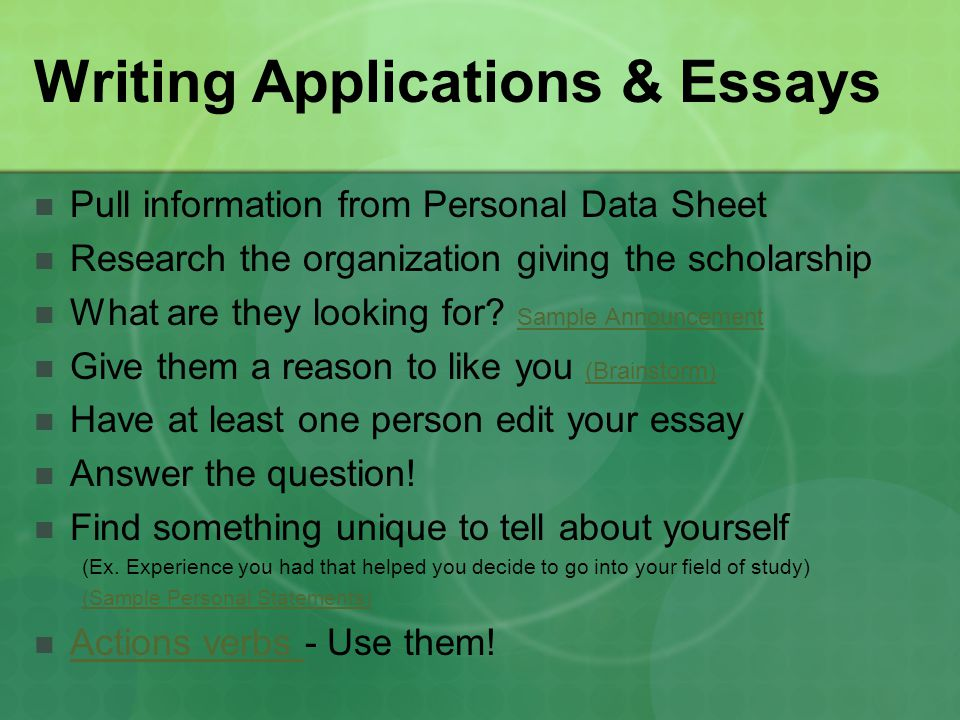 Writing Applications & Essays