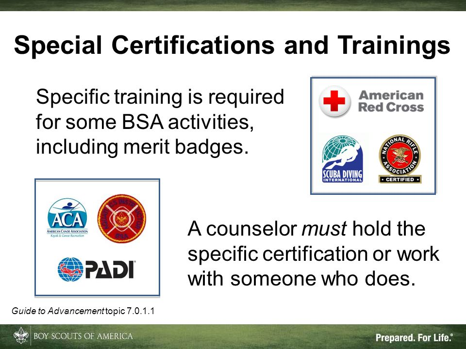 Special Certifications and Trainings