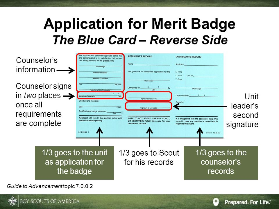 Application for Merit Badge The Blue Card – Reverse Side