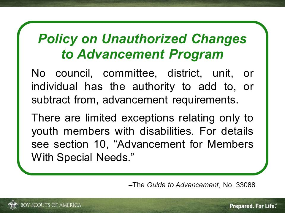 Policy on Unauthorized Changes to Advancement Program