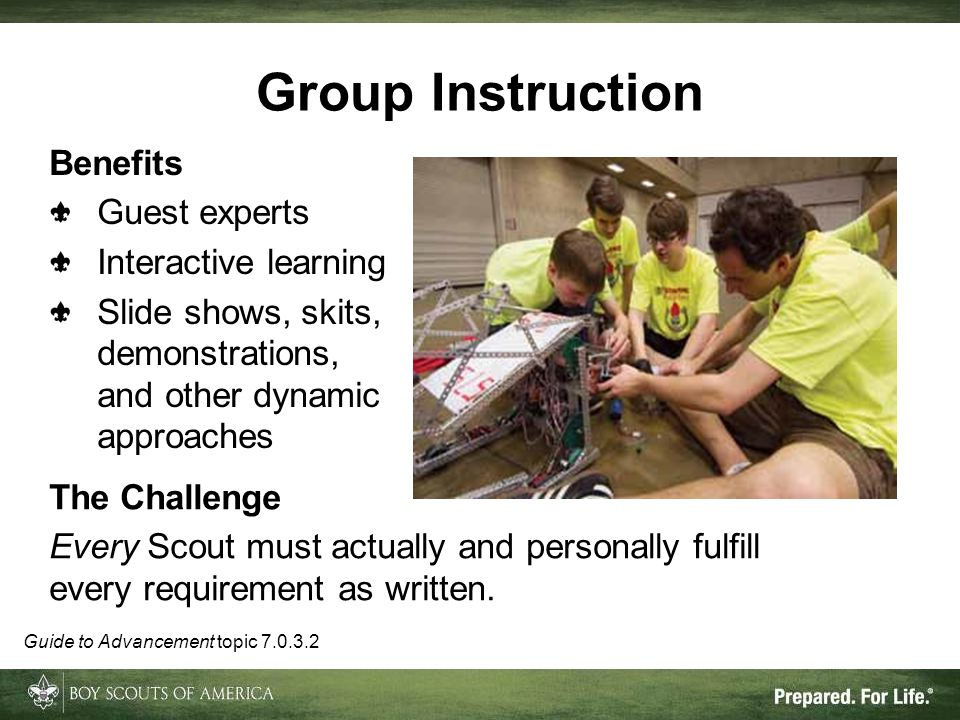 Group Instruction Benefits Guest experts Interactive learning