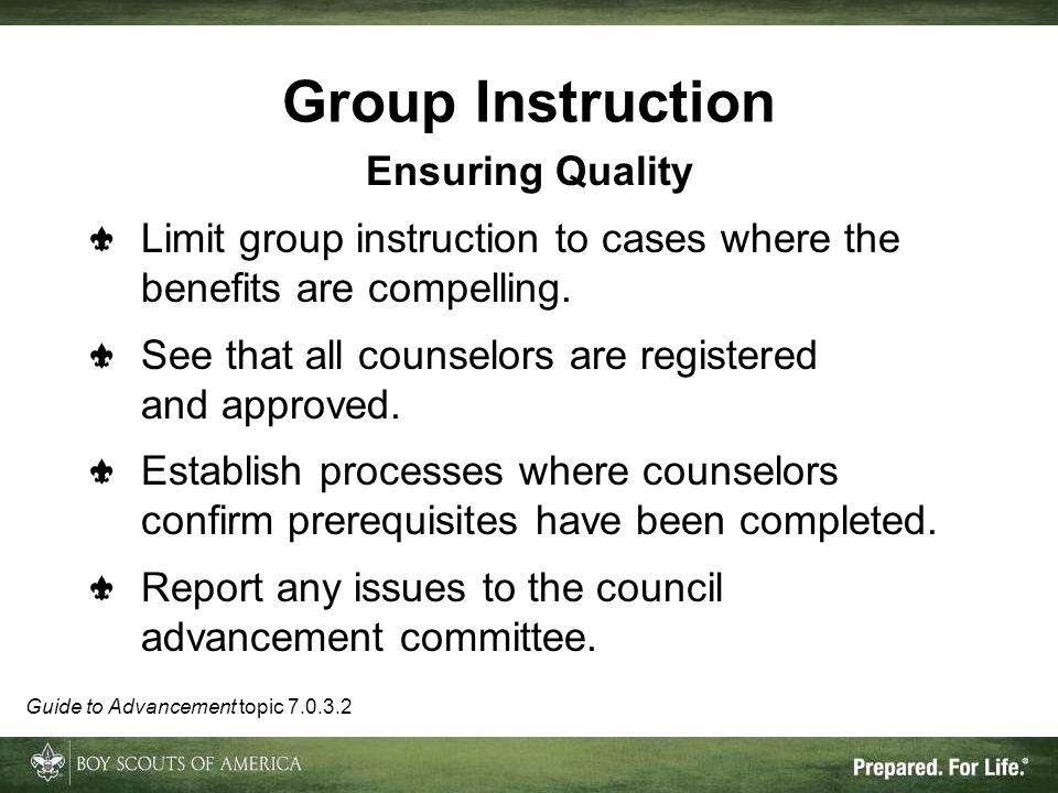 Group Instruction Ensuring Quality