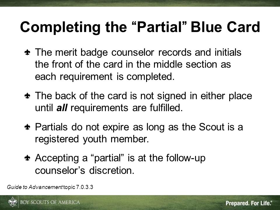 Completing the Partial Blue Card