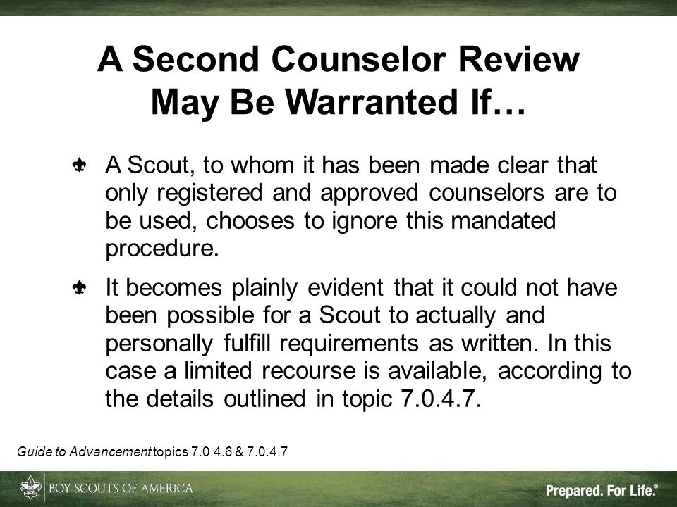 A Second Counselor Review May Be Warranted If…