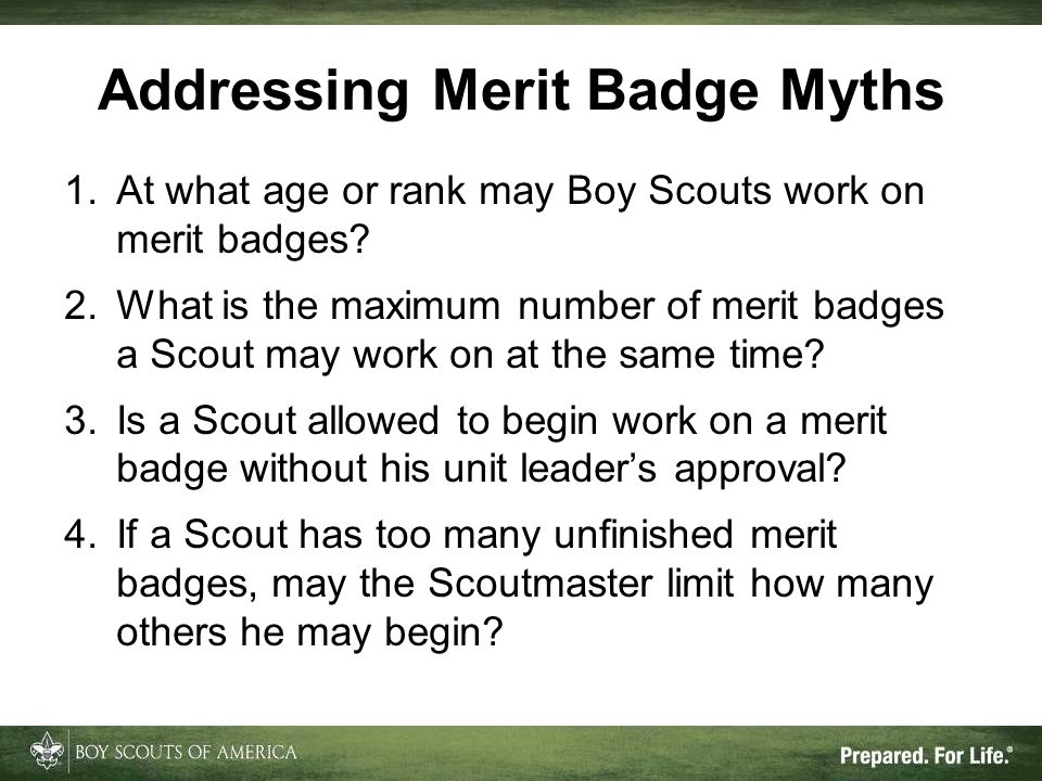 Addressing Merit Badge Myths
