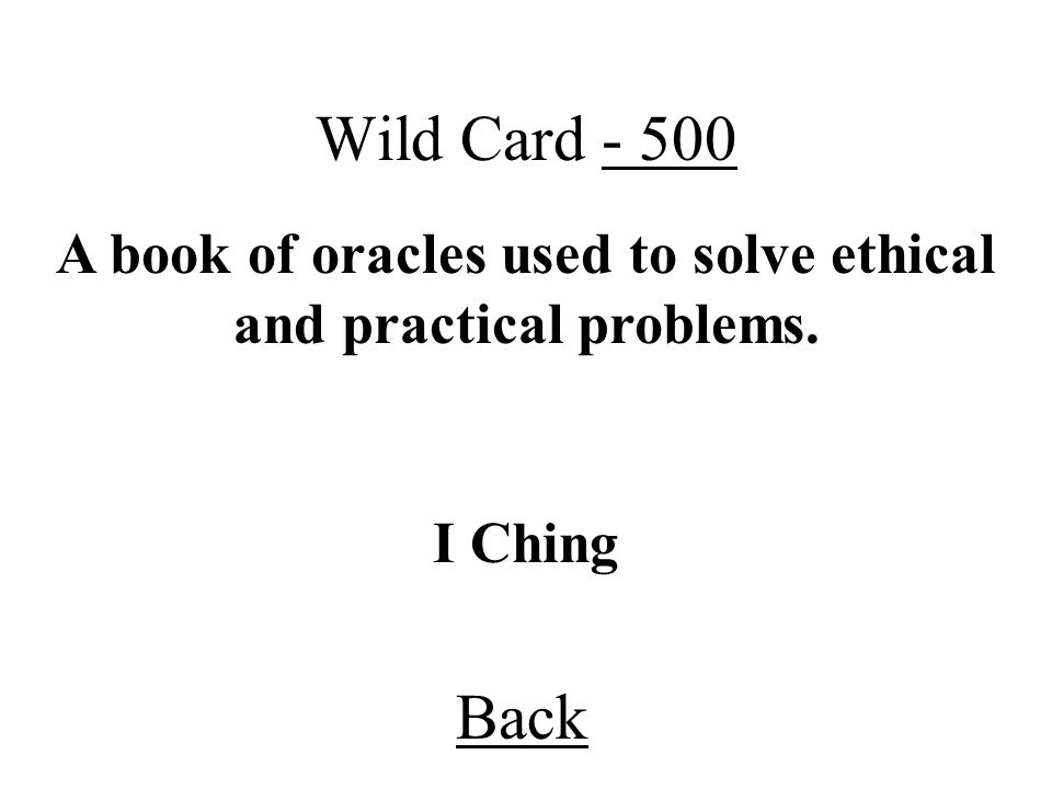 A book of oracles used to solve ethical and practical problems.