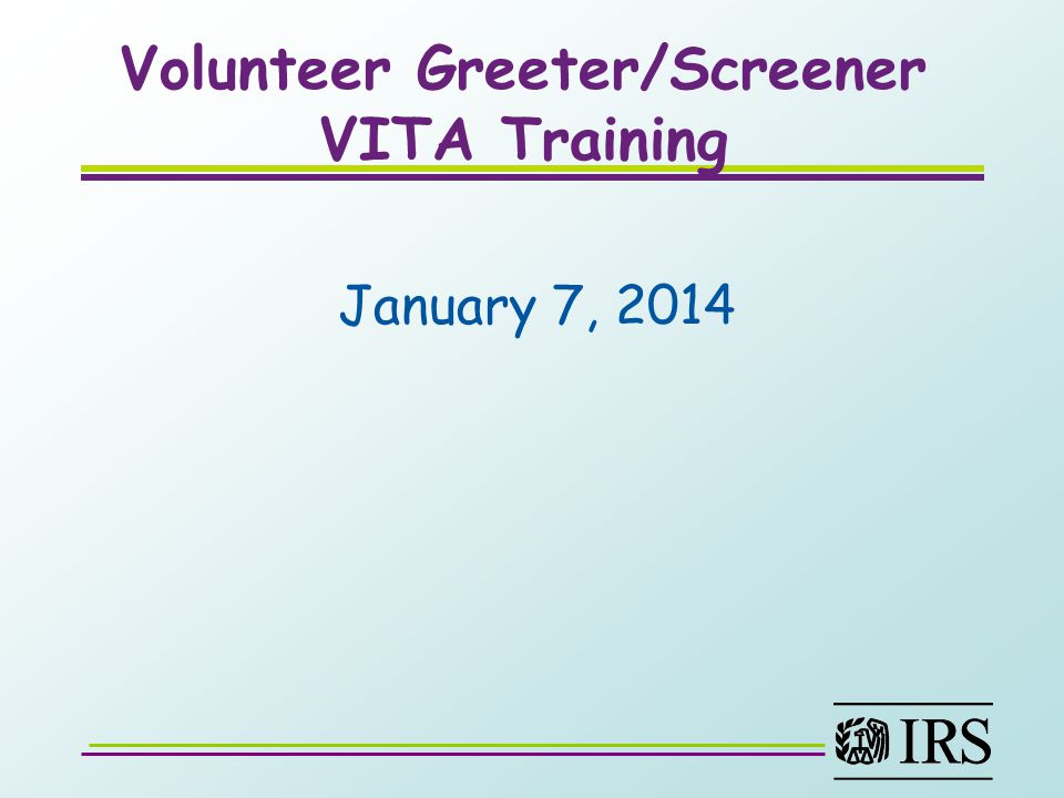 Volunteer Greeter/Screener VITA Training