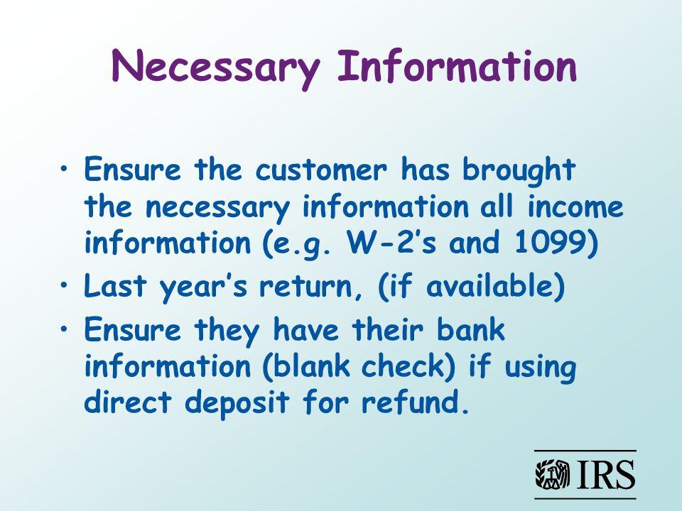 Necessary Information
