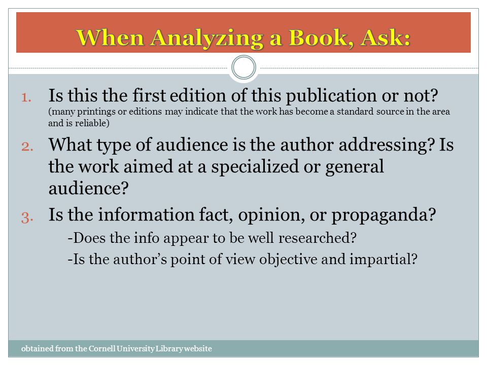 When Analyzing a Book, Ask:
