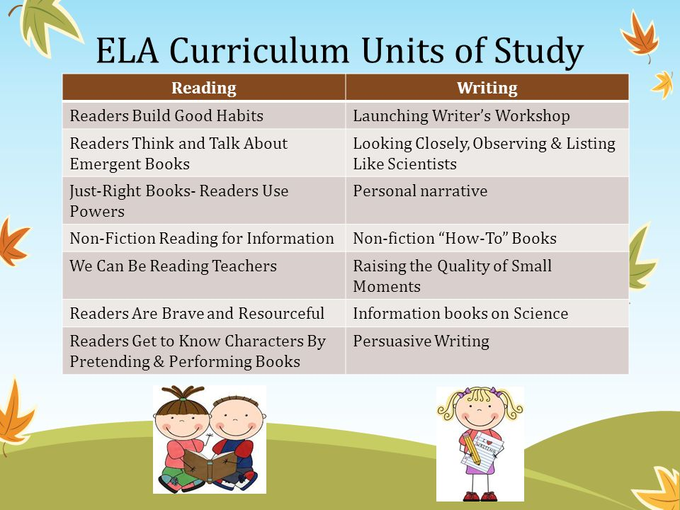 ELA Curriculum Units of Study