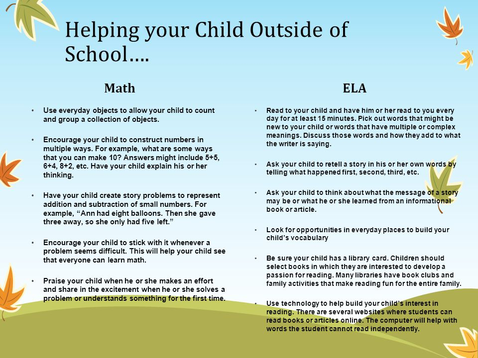 Helping your Child Outside of School….