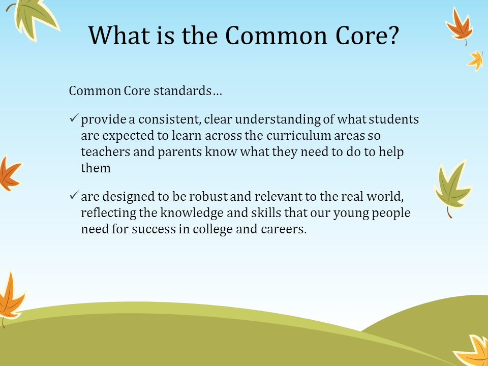 What is the Common Core Common Core standards…