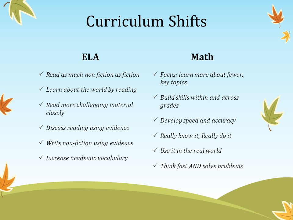 Curriculum Shifts ELA Math Read as much non fiction as fiction