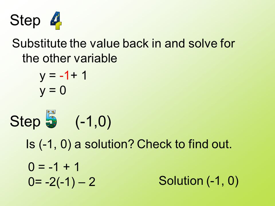 Step Substitute the value back in and solve for the other variable. y = -1+ 1. y = 0. Step (-1,0)