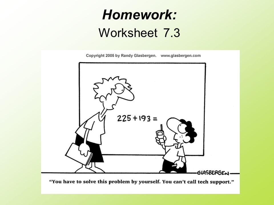 Homework: Worksheet 7.3