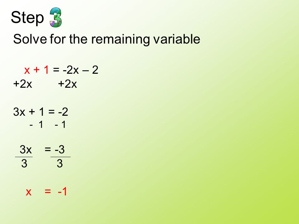 Step Solve for the remaining variable +2x +2x 3x + 1 = -2 3x = -3