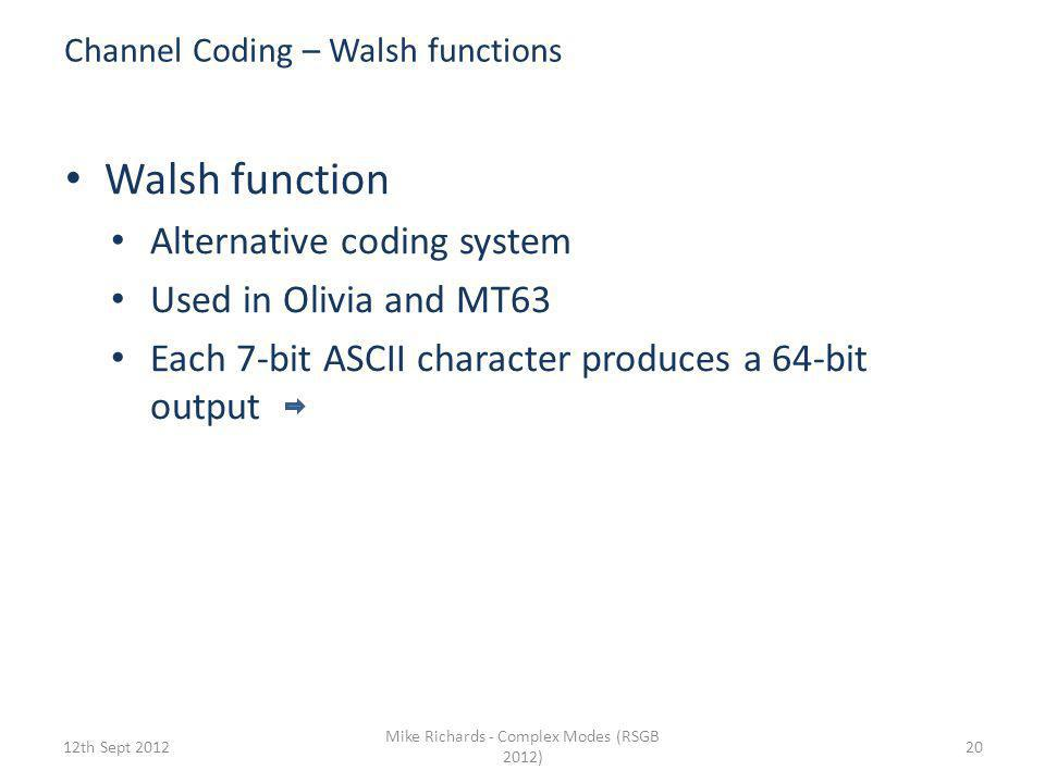 Channel Coding – Walsh functions