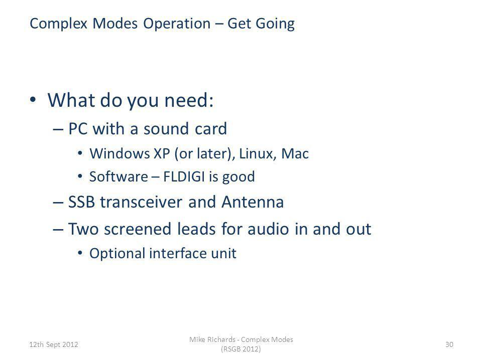 Complex Modes Operation – Get Going
