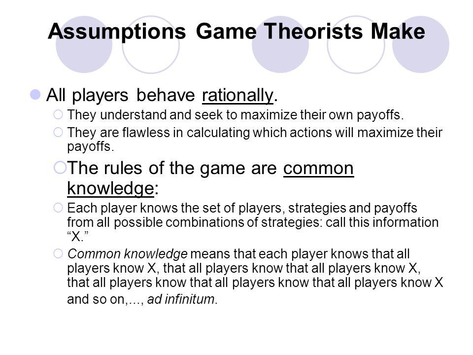 Assumptions Game Theorists Make