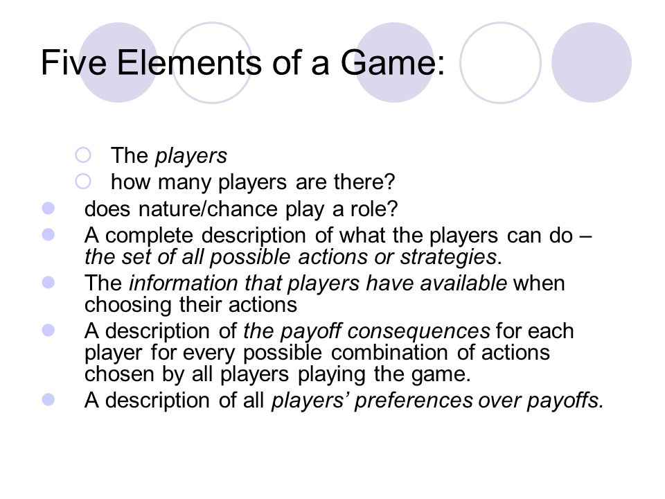 Five Elements of a Game:
