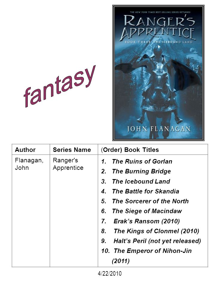 fantasy Author Series Name (Order) Book Titles Flanagan, John