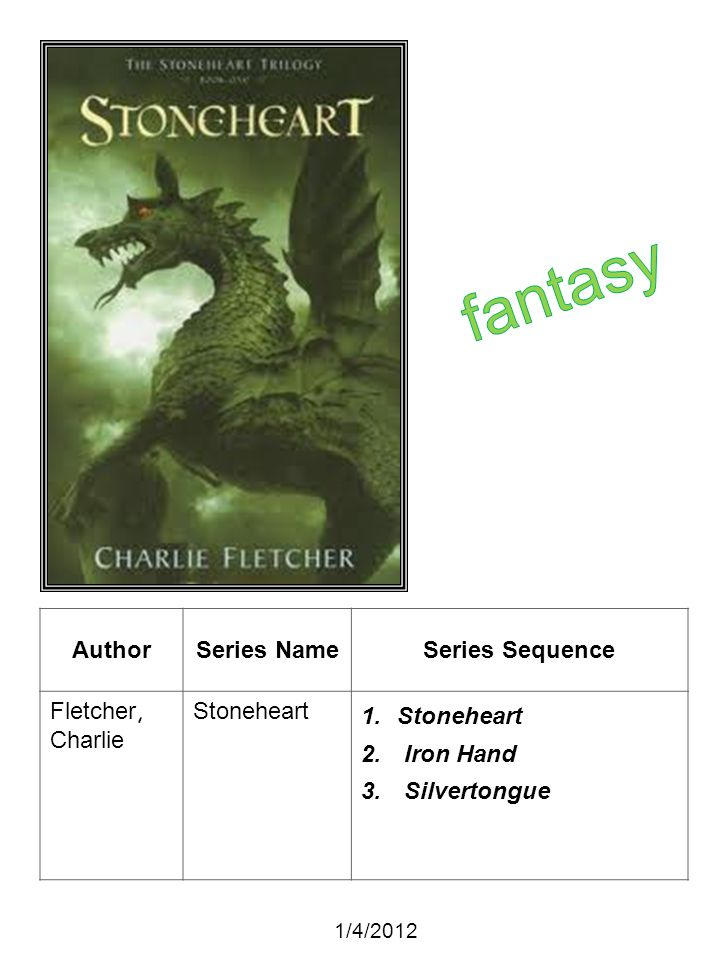 fantasy Author Series Name Series Sequence Fletcher, Charlie