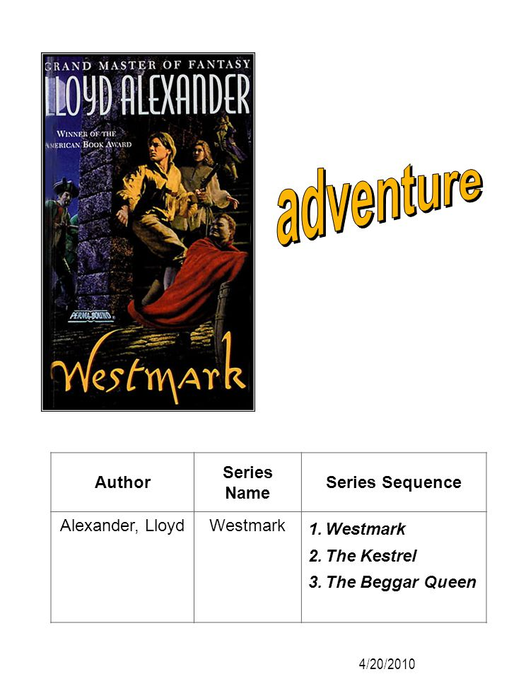 adventure Author Series Name Series Sequence Alexander, Lloyd Westmark