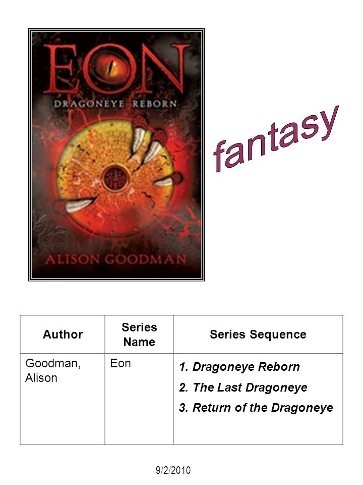 fantasy Author Series Name Series Sequence Goodman, Alison Eon